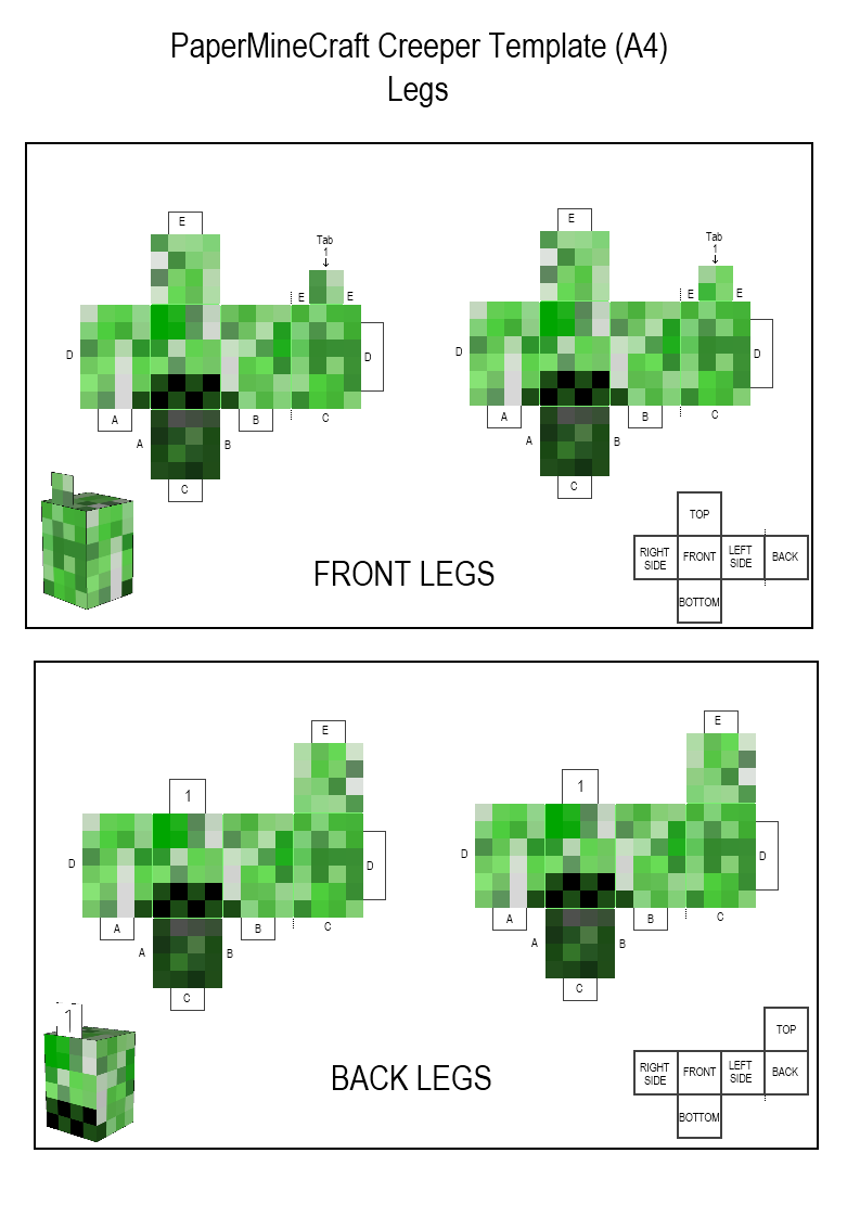 Minecraft Papercraft Creeper Legs